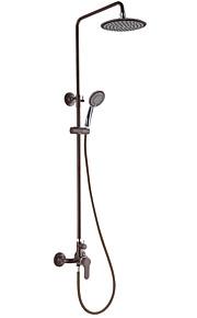 Contemporary Brown Pittura Finish Tre fori maniglia Sidespray cascata rubinetto doccia