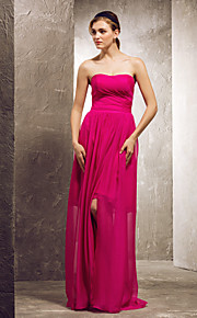 Prom/Military Ball/Formal Evening/Wedding Party Dress - Fuchsia Sheath/Column Strapless/Sweetheart Floor-length Chiffon