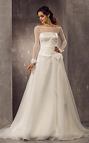 Lanting una línea / princesa más el tamaño de vestido de novia - marfil tren de la corte fuera del hombro organza / tul
