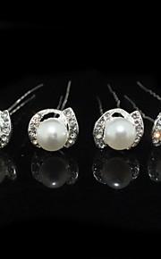 Femme Strass / Alliage / Imitation de perle Casque-Mariage / Occasion spéciale Epingle à Cheveux 4 Pièces