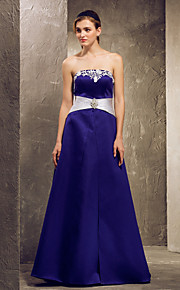 Bridesmaid Dress Floor Length Satin A Line Strapless Dress With Lace (1036884)