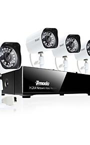 zmodo® 4CH 720p netværk videooptager PoE sikkerhed overvågningssystem med 4-dag / nat hd ip kamera