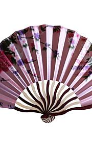 Floral Satin Hand Fan - Set of 4 (Random Color)