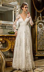 Lanting vaina / columna de tallas grandes vestido de novia - palabra de longitud tul marfil con cuello en V / cordón