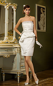 lanting vaina / columna más vestido de novia tamaños - marfil de satén mini corto / sin tirantes