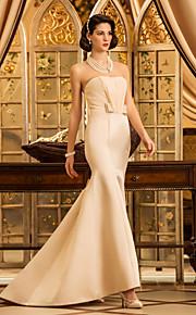 trompeta lanting / sirena pequeña / más el tamaño de vestido de novia - champán de barrido / cepillo tren satén sin tirantes