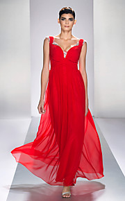 Formal Evening/Prom/Military Ball Dress - Ruby Plus Sizes A-line Queen Anne Ankle-length Chiffon/Satin Chiffon