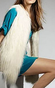 gilet de fourrure avec manches col en fausse fourrure de partie / veste décontractée (plus de couleurs)
