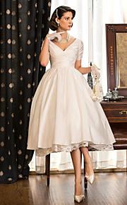 Lanting una línea / princesa pequeña / más tallas de vestido de boda - marfil té de longitud tafetán con cuello en V
