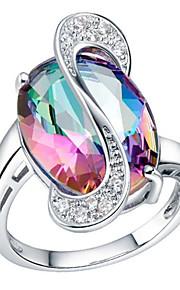 Women's Platinum Plated/Brass Ring Crystal Platinum Plated/Brass