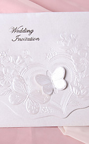 Pearl Paper Butterfly Tri-fold Wedding Invitation - Set of 50