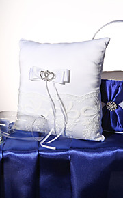 White Heart Rhinestone With Bow Lace Square Satin Ring Pillow