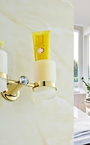 Contemporary Golden Crystal Brass Double Cup Toothbrush Holder