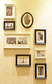 White Black Photo Frame Collection Set of 8