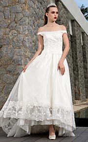 Vestido de Boda - Marfil Corte en A Asimétrica - Escote en U Tul/Encaje Tallas Grandes