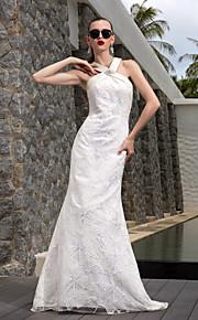 Lanting una línea más el tamaño de vestido de novia - marfil tren de barrido / cepillo de satén con cuello en V / cordón / satén stretch