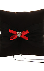 Wedding Ring Pillow In Black Satin With Red Bows And Black Polyester Banding