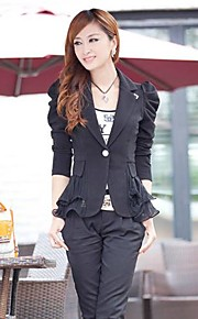 Women's Polo Collar Puff Sleeve Slim Short Blazer