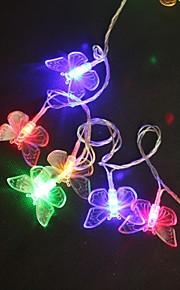 5M 40-LED Multicolor Butterfly Lett String Bryllupsfesten jule Lampe (AC220V)
