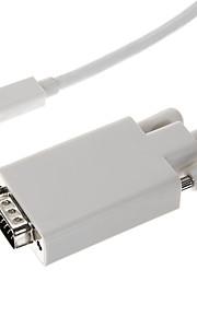Thunderbolt Male til VGA Male Hvit videokabel til MacBook (180cm)