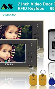 "tmax® 7 ""camera tft citofonico campanello fissato il video citofono 600TVL HD IR (1camera a 2monitors)"