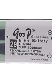 """3.6V """"1000mAh"""" Oplaadbare draadloze telefoon vervangende batterij"""