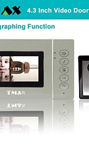 """tmax® 4,3 """"lcd foto video deurtelefoon deurbel huis ingang intercom met 500tvl night vision camera"""