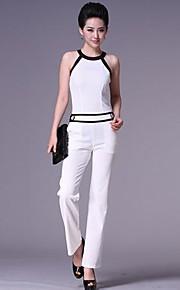 Yimilan Women's Halter Contrast Color Sheath Jumpsuits