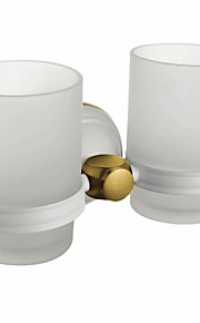 Painting Finish Wall-mounted Double Tumbler Holder  Contemporary Style Brass Wall