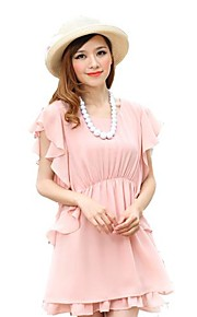 Jianzi Women's Pink Ruffled Sleeve Dress