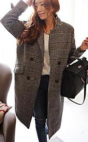Women's Plover Mixed Color Long Woolen Overcoat