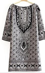 Damen Kleid - Etuikleid Retro Druck Mini Baumwoll-Mischung Rundhalsausschnitt