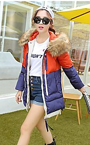 Women's Fashion Color Matching Military Dress Feather Coat
