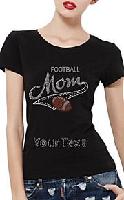 gepersonaliseerde strass t-shirts voetbal moeder patroon katoen vrouwen korte mouwen
