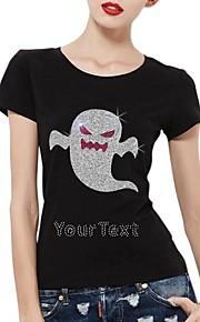 personlig rhinestone T-shirts halloween spøgelse mønster kvinders bomuld korte ærmer