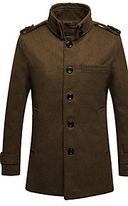 Men's Korean Style Stand Shoulder Pad Trench Coat