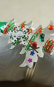 colorfull Weihnachtsbaum Serviettenring vielen Farben, Acryl, 4,5 cm, 12er Set Schneeflocke