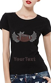 Personalized Rhinestone T-shirts Baseball with Crown And Wing Pattern Women's Cotton Short Sleeves