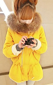 Women's Fur Collar Solid Color Hoodies Coat(More Colors)