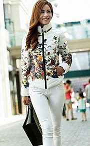 Women's Floral Print Slim Down Jacket Fashion Winter Coat Warm Parka