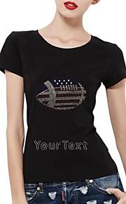 gepersonaliseerde strass t-shirts voetbal patroon katoen vrouwen korte mouwen