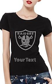 gepersonaliseerde strass t-shirts raider schedel schild patroon katoen vrouwen korte mouwen