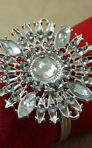 Хрустальный цветок металла салфетки кольца Рождество, сплав, 1.77inch, набор 12
