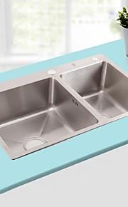 polegadas l29.5 dupla tigela pia de cozinha em aço inoxidável 304