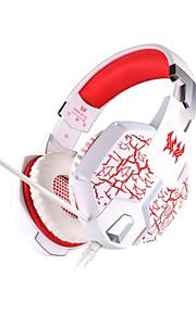 hver g1100 hovedtelefon kabel 3,5 mm i løbet øre gaming vibrationer vejrtrækning lys med mikrofon til PC