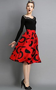 Women's Red/Black Skirts , Vintage/Print/Party Midi