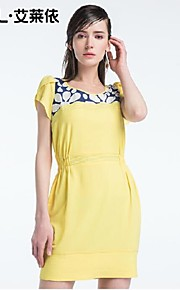 Women's Blue/Yellow Dress , Bodycon/Casual Short Sleeve