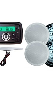 Waterproof Marine Radio Stereo ATV UTV Audio Receiver+6 Inch White Waterproof Speakers+Radio Antenna
