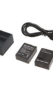 3.7V 1600mAh Batteri af GoPro Hero 3 ahdbt-201/301 med oplader (2 batterier + 1 oplader)