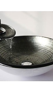 a prata espiral rodada temperado pia vaso de vidro com torneira em cascata, pop - up de drenagem e anel de montagem